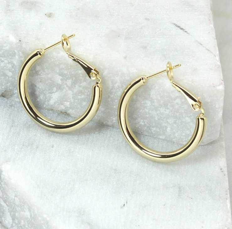A photo of the Evelynn Hoop Earrings product