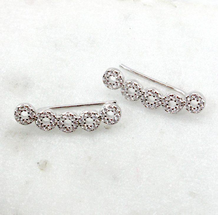 A photo of the Rhinestone Climber Earrings product