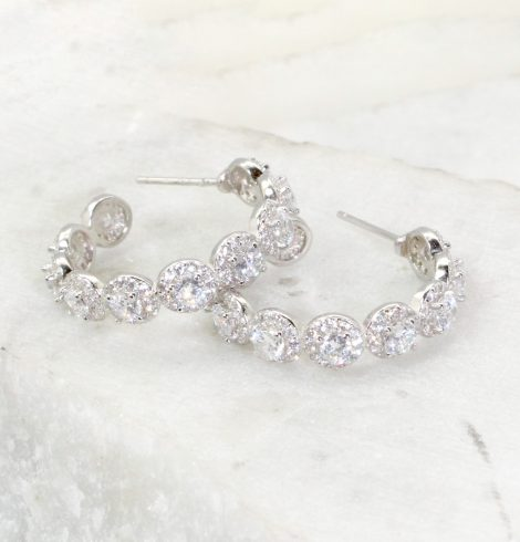 A photo of the Rhinestone Hoop Earrings product
