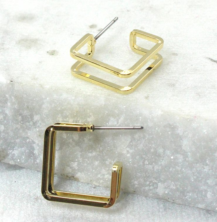 A photo of the Square Hooplette Earrings product
