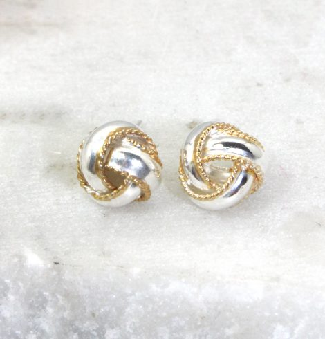A photo of the Two Tone Love Knot Earrings product
