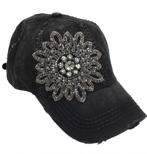 A photo of the Allie Black Rhinestone Baseball Cap product