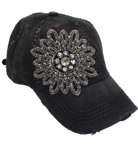 A photo of the Allie Black Rhinestone Baseball Cap product