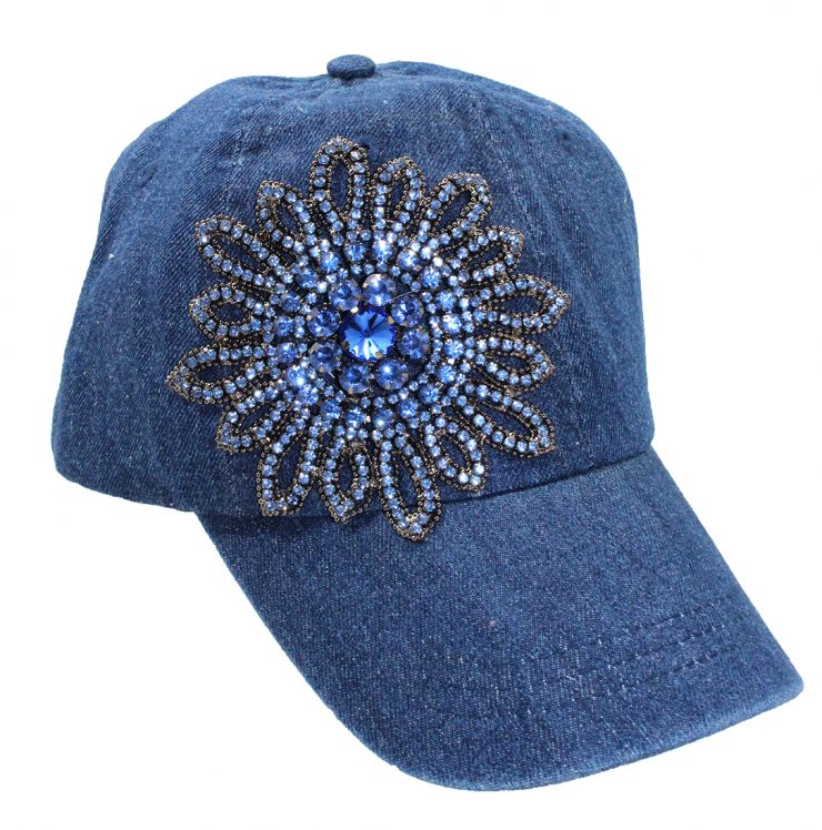 A photo of the Allie Rhinestone Hat in Denim product
