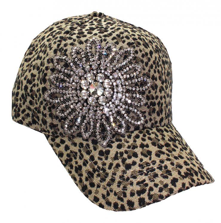 A photo of the Allie Rhinestone Baseball Cap in Leopard product