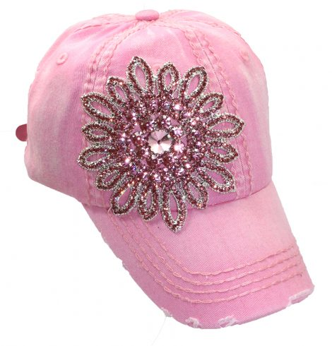 A photo of the Allie Rhinestone Baseball Cap in Pink product