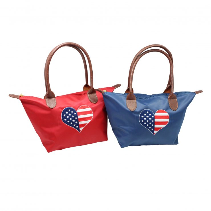 A photo of the American Flag Heart Tote product