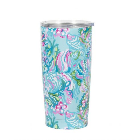 A photo of the Lilly Pullitzer Stainless Steel Thermal Mug in Aqua La Vista product