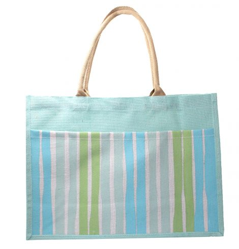 A photo of the Aruba Jute Stripe Pocket Tote product