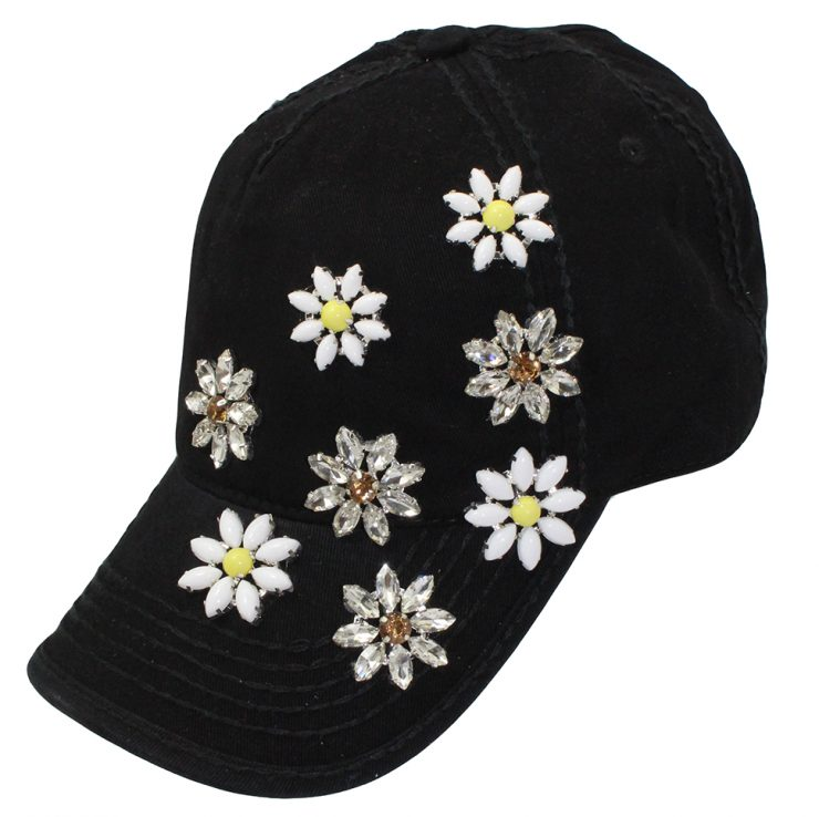 A photo of the Black Daisy Ponytail Baseball Cap product