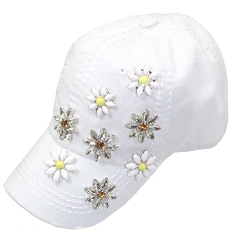 A photo of the White Daisy Rhinestone Hat product