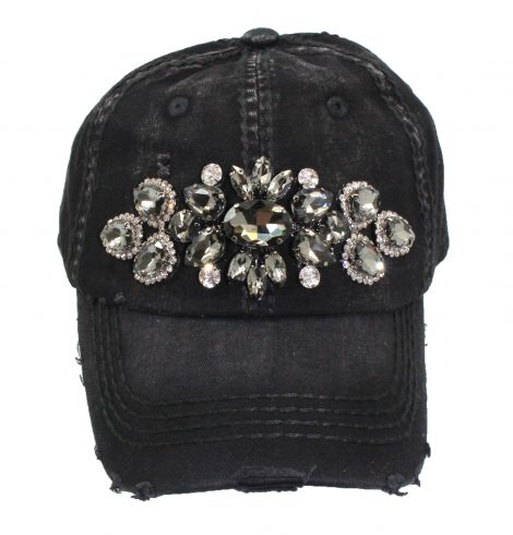 A photo of the Lyla Rhinestone Baseball Cap in Black product