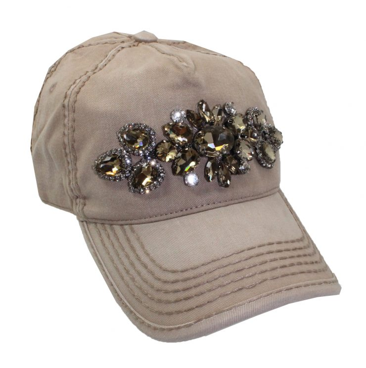 A photo of the Lily Rhinestone Ponytail Baseball Cap in Tan product