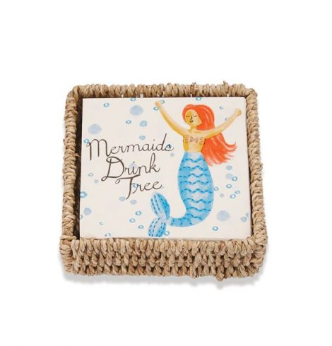 A photo of the Mermaids Drink Free Paper Cocktail Napkin Basket Set product