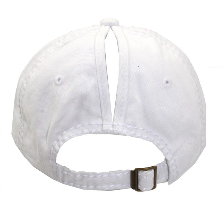 A photo of the Pearl Ponytail Baseball Cap in White product