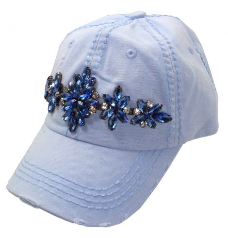 A photo of the Trish Rhinestone Baseball Cap in Light Blue product