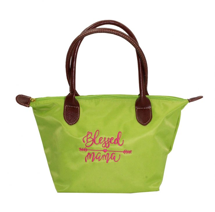 A photo of the Blessed Mama Tote In Green product