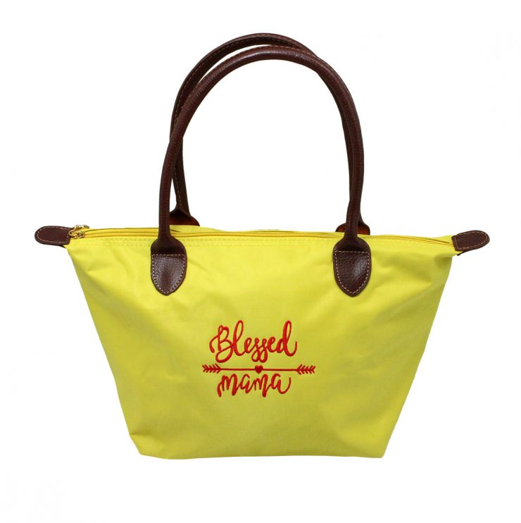 A photo of the Blessed Mama Tote In Yellow product