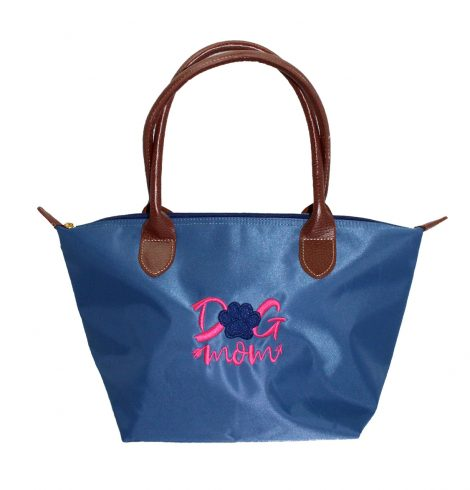 A photo of the Dog Mom Tote In Blue product