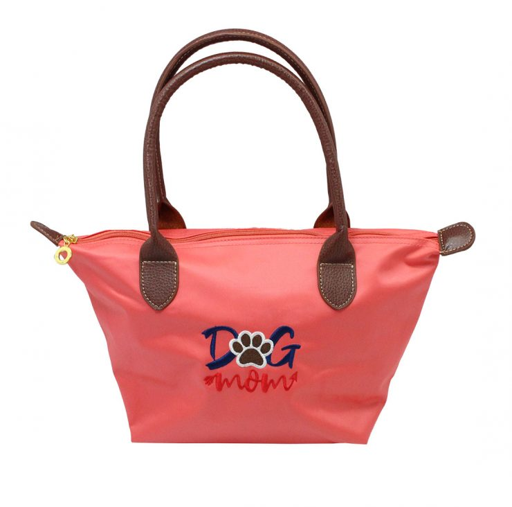 A photo of the Dog Mom Tote In Coral product