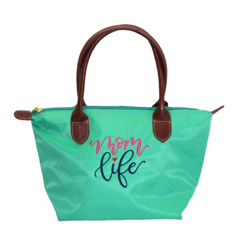 A photo of the Mom Life Tote In Turquoise product