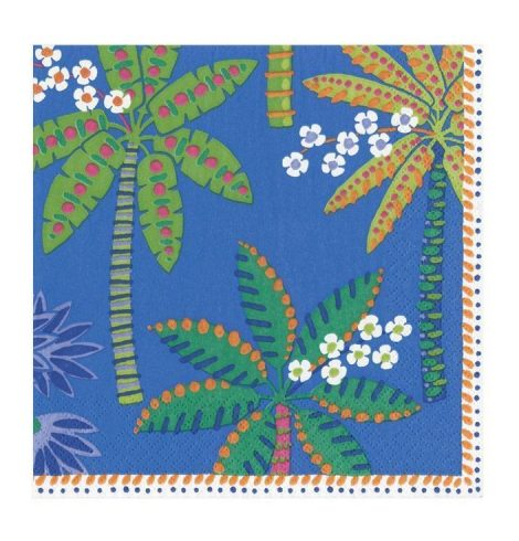 A photo of the Paradise Palms Cocktail Napkins In Blue product