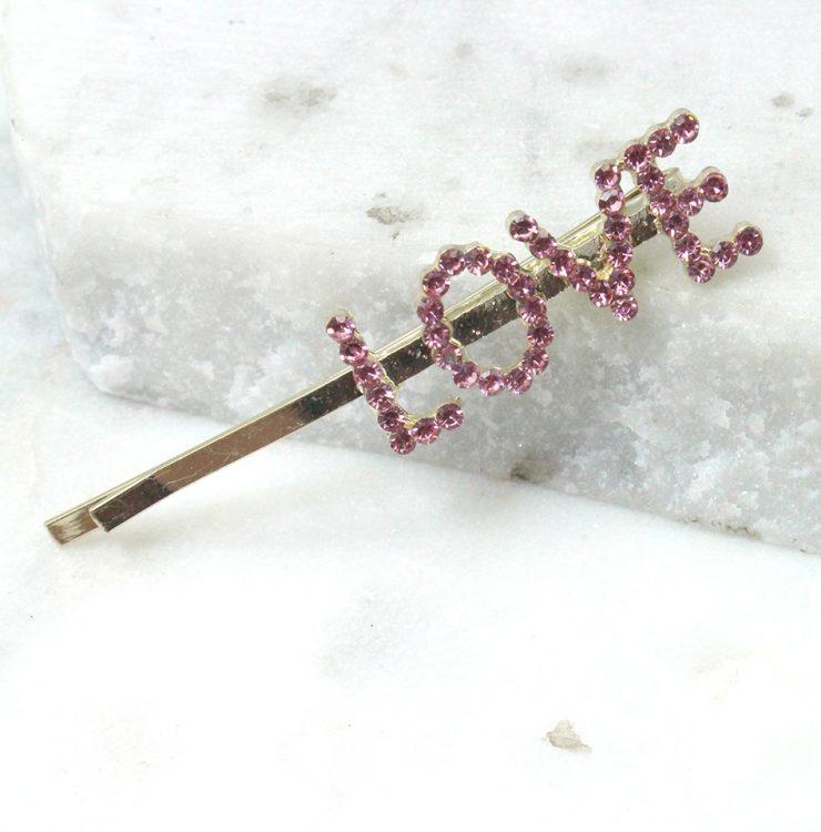 A photo of the Love Rhinestone Bobbi Pin product