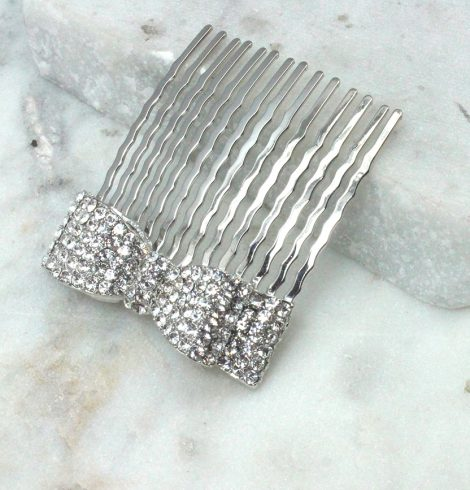 A photo of the Rhinestone Bow Hair Comb product