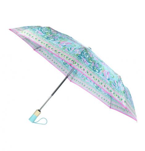 A photo of the Lilly Pulitzer Umbrella In Aqua La Vista product