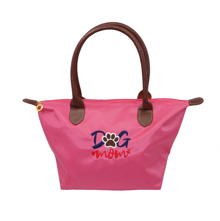 A photo of the Dog Mom Tote In Pink product