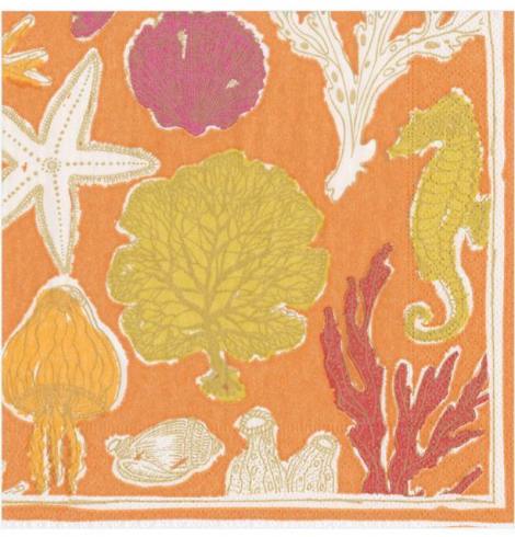 A photo of the Sealife Cocktail Napkins In Coral product