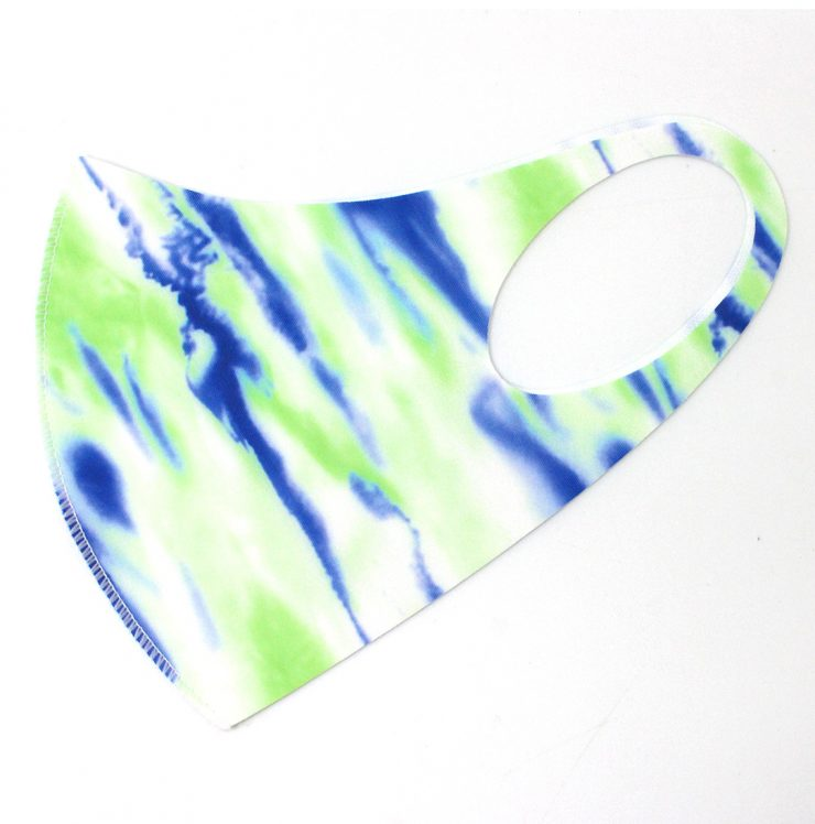 A photo of the Blue and Green Water Stripe Mask product