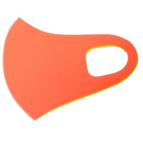 A photo of the Two Tone Neon Orange and Yellow Face Mask product