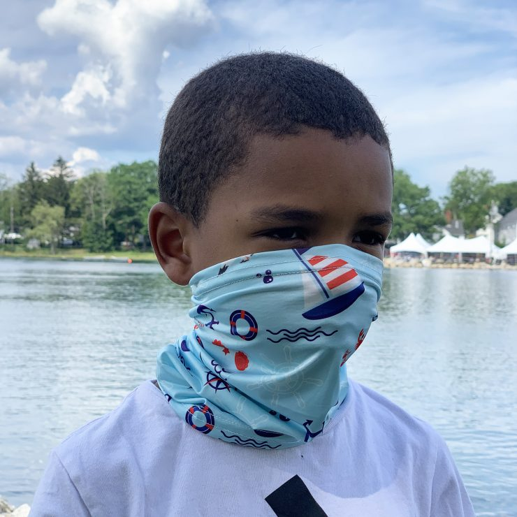 A photo of the Children's Neck Gaiter In Sail Away product