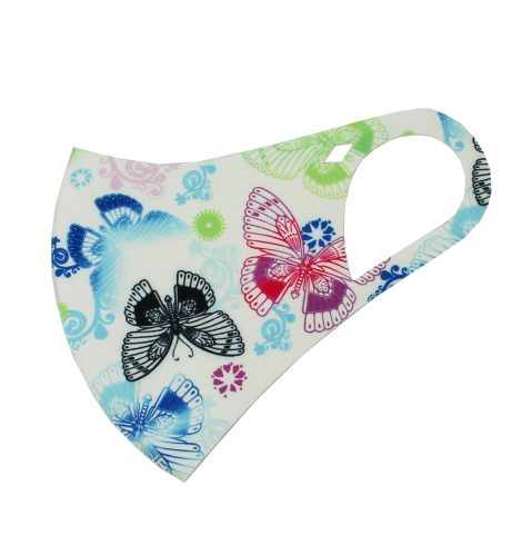 A photo of the Butterfly Garden Face Mask In White product