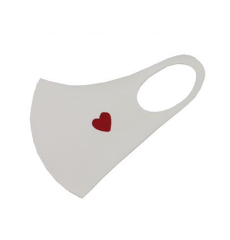 A photo of the Heart Face Mask In White product