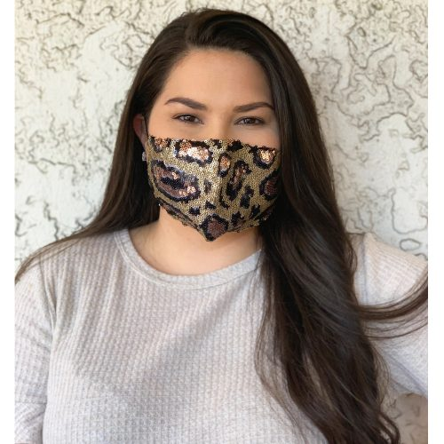 A photo of the Leopard Sequin Face Mask product