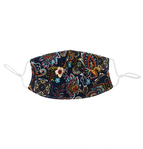 A photo of the Pretty Paisley Face Mask In Navy product