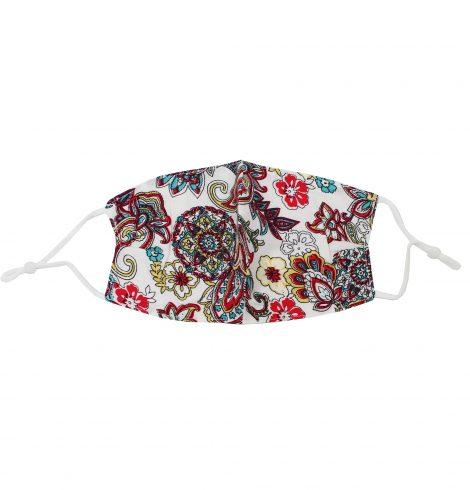 A photo of the Pretty Paisley Face Mask In White product