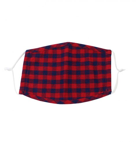 A photo of the Red & Navy Buffalo Check Kids' Mask product