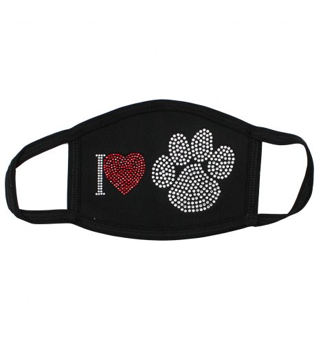 A photo of the I Love Paw Prints Rhinestone Mask product