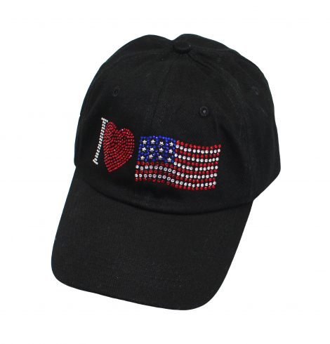 A photo of the I Love USA Rhinestone Baseball Cap product