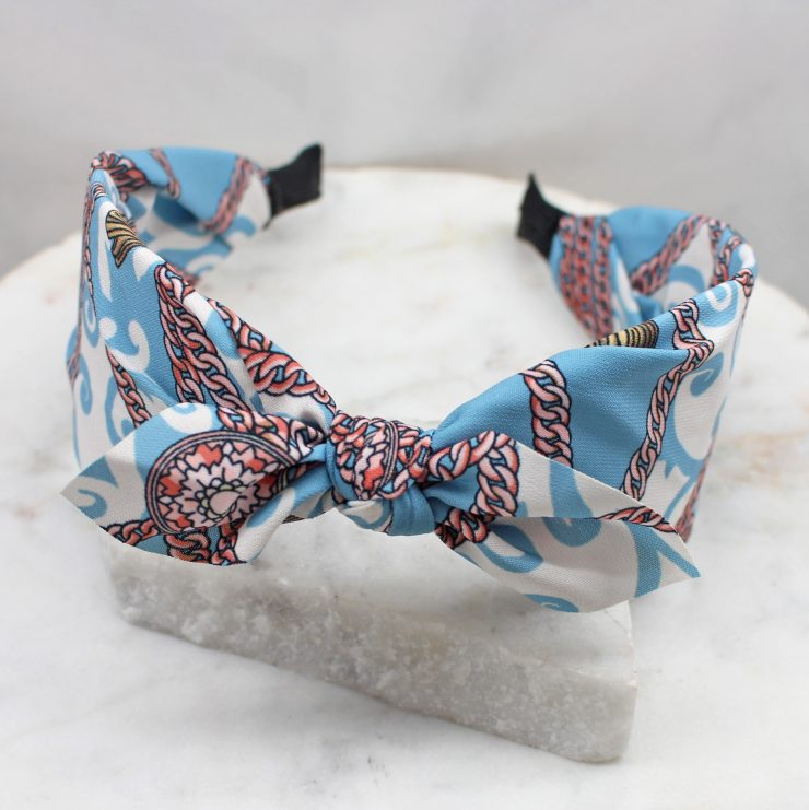 A photo of the Light Blue Chains Headband product