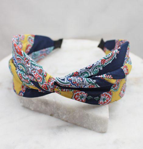 A photo of the Navy & Mustard Paisley Headband product