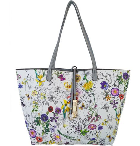 A photo of the Tropical Garden & Light Grey Reversible Tote product