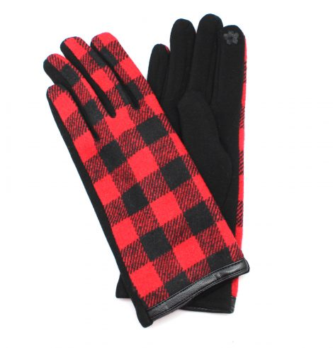 A photo of the Black & Red Buffalo Check Gloves product