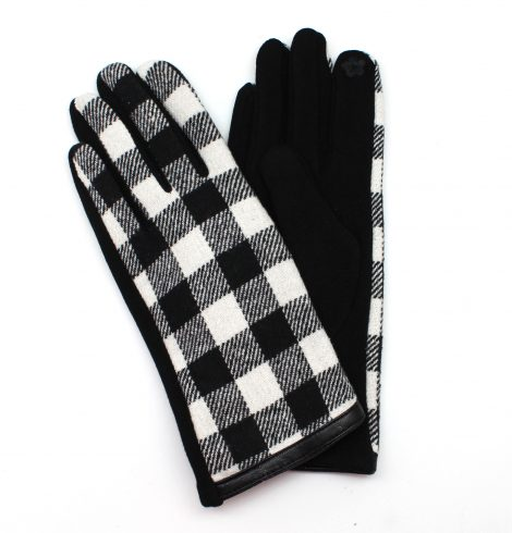 A photo of the Black & White Buffalo Check Gloves product