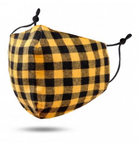 A photo of the Black and Yellow Buffalo Check Mask product