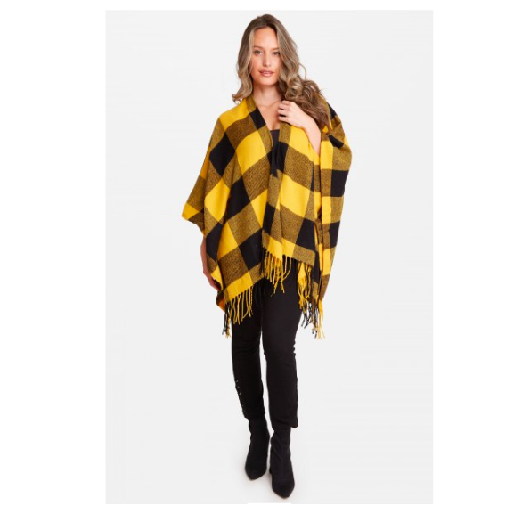 A photo of the Black and Yellow Buffalo Check Wrap product
