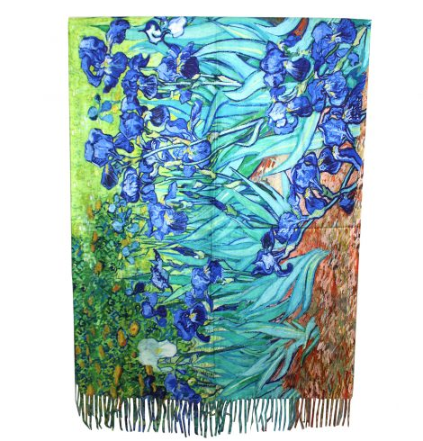 A photo of the Iris Flower Painting Reversible Scarf product